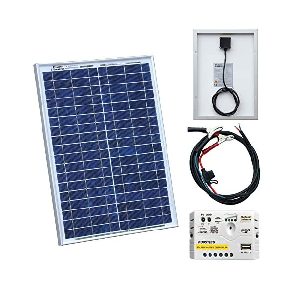 20W 12V Photonic Universe solar power kit with 5A charge controller and battery cables for a motorhome, caravan, camper…