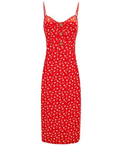Joe Browns - Robe d'été à bretelles de style vintage - Femme Rouge