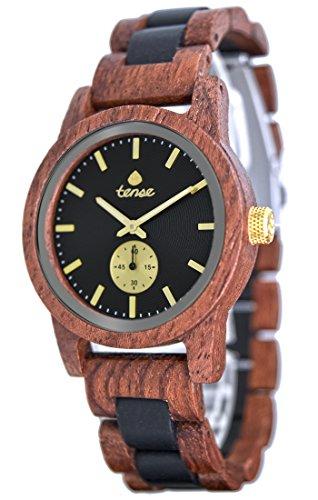 Holzuhr TENSE Mens Hampton Premium Herren-Uhr B4700RD-BG - Nat&uumlrliches Rosenholz/Sandelholz B4700RD-BG