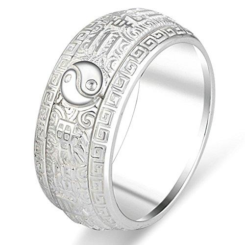 Aooaz Gioielli anelli da uomo anello argento 925 Anello Taiji Eight Trigrams anelli vintage Argento