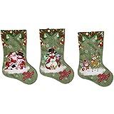 Zhou Yunshan Weihnachtsdekoration für Zuhause Christamas Strümpfe mit Rentier Schneemann Santa Green 3er Set Dekorative Geschenke für Weihnachtsfeier Frohe Wei