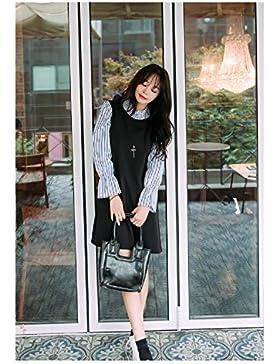 WeLove de las mujeres vestido de manga plisada rayas