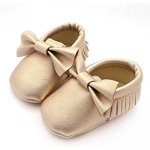 Blaux Zapatos de bebé del niño con el Bowknot de la borla suave Suela antideslizante