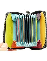 Mesdames cuir souple Real Black Porte-cartes de crédit / Porte-monnaie & Porte-Monnaie / Section - Zips UP plein - Dit 9 Cartes de crédit