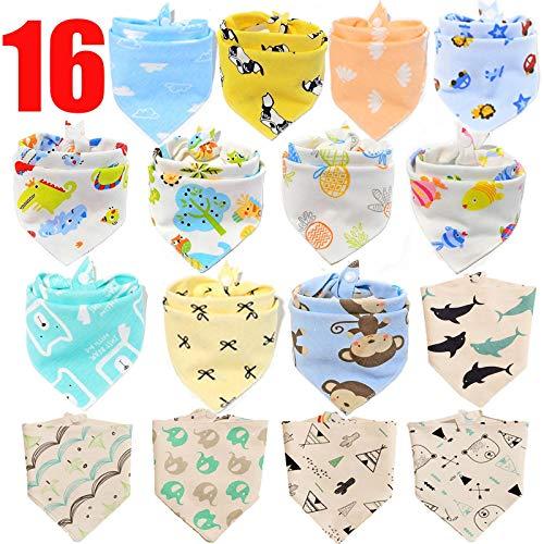 SLOSH 16 Baberos Bebe Bandanas Bufanda Toalla Drool Babas Tela para Bebé Niña Niño Recien Nacido Algodon Absorbente Suaves Dentición (16pcs Unisex)