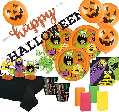 Kids Party World XXL 54 Teile Halloween Deko Set Kleine Monster für 8 Personen (Kids Party Halloween)