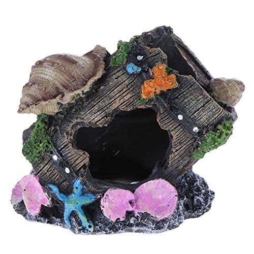 Broadroot Aquarium Schlossfass Fass Aquarium Dekoration Landschaft Harz Felsen für Fische Schildkröte Landschaftsbau DIY Ornamente, Shell on The Barrel