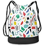 ewtretr Turnbeutel Hipster Sporttaschen Unisex Bundle Backpack, Shapes Pattern Lightweight Polyester...