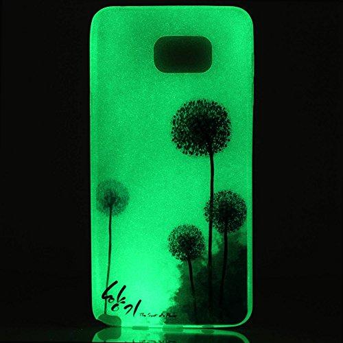 Custodia Galaxy S6 - Cover per Samsung Galaxy S6 - ISAKEN Fashion Agganciabile Luminosa Custodia con LED Lampeggiante PU Pelle Portafoglio Tinta Unita Cover Caso per Samsung S6, Luxury Protettivo Skin dandelion violet