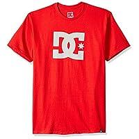 DC Men's Star Short Sleeve Tee Shirt, Tango Red/Snow White, M
