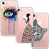 [3-Pièces] Coque iPhone 7, Coque iPhone 8, blossom01 Ultra Mince Cute Motif Premium TPU Souple Etui de Protection pour iPhone 7 / 8 - Eye & Butterfly Fille et Chat