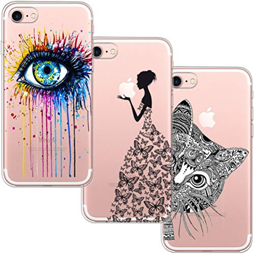 [3 Stück] iPhone 7 Hülle, iPhone 8 Hülle, Blossom01 Cute Funny Kreative Cartoon Transparent Silikon Bumper für iPhone 7 / 8 - Eye & Butterfly Mädchen & Katze (Cases Cute Iphone)