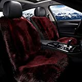 24V Long fluff Car Seat Cushion Pad, Sheepskin Rug Fleece, Universal Kissen for Automobile Decoration und Warm im Winter Universal Fit for Comfort in Auto, Office