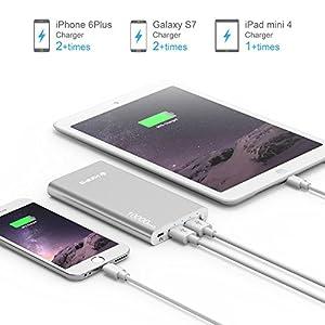 Power Bank, Kinps 10000mAh (Doble Puerto, Total 5V/3.5A) Batería Externa Portátil Carga Ultra Compacto con tecnología inteligente para iPhone 6/6s/6 plus/6s plus, iPad, dispositivos Android, Teléfonos móviles, Tablet (Plata)