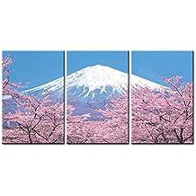 Lienzo Pintura para Decoración del hogar Peak of Mount Fuji with Cherry Blossom Sakura en azul cielo vista desde el Lago Kawaguchiko Japón en primavera 3piezas Panel giclée de cuadros moderno arte enmarcado y estirado sobre la imagen para decoración de la sala de estar fotos en horizontal Impresiones de fotos sobre lienzo