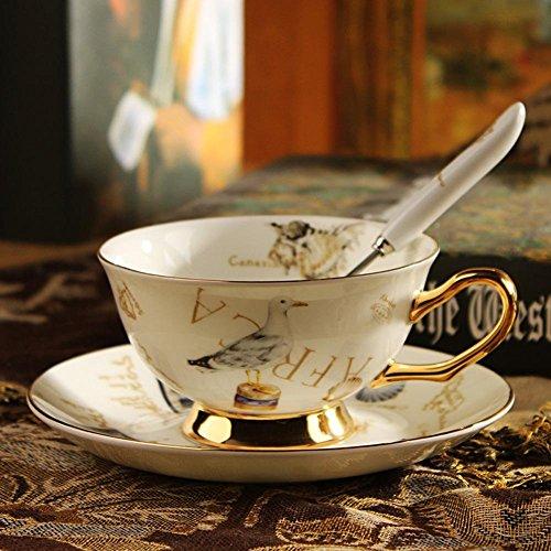 SSBY Osseux en céramique café Britannique continentale China Cup et soucoupe set, coffret tasse café rétro rouge