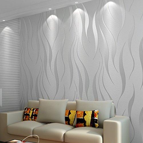 *TataYang 3D Heimwerker High-End-Luxus Welle Beflockung Tapes Rolls Neue Schlafzimmer Tapete Contemporary Hintergrund Silver Grey*