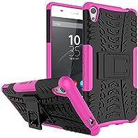 Sony Xperia C6 XA Ultra Funda, CaseforYou 2 in 1 PC Dura + TPU Suave [Protección completa del cuerpo] a prueba de choques [A prueba de huellas] Resistente a los arañazos Defender Cover con Kickstand para Sony Xperia C6 XA Ultra (Rosa caliente)