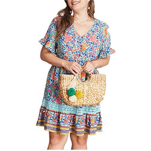 LOPILY Elegantes Sommerkleid Große Größen Blumen Drunkkleid mit Knopfen Deko Romantik Strandkleid Rüschen Kurzarm Minikleid Übergrößen Hippie Kleid für Reise bis 5XL (Grün, EU-48/CN-3XL)