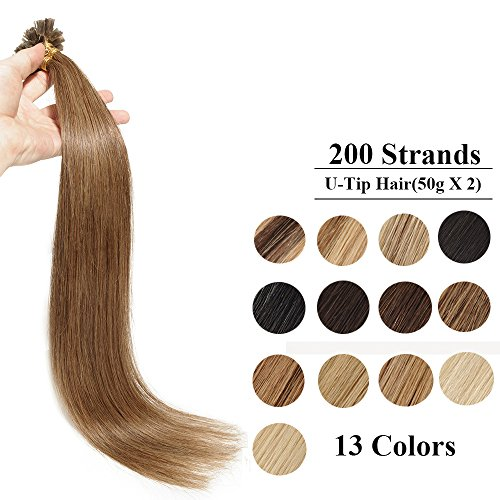200 ciocche extension remy human hair cheratina 55cm 22