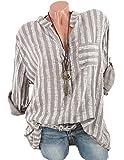 Charmstyle Damen Freizeit Streifen Leinen Bluse Locker Hemd Longbluse