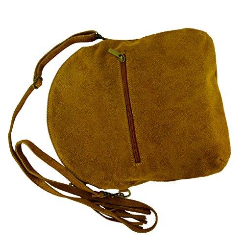 Messenger / Borsa a tracolla di velluto genuino / pelle scamosciata, Minibag, Italy Cognac