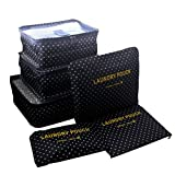 ITraveller 7 Stück Set-3 Verpackungs Würfel+3 Beutel+1 shoes bag Kompresse Ihre Kleidung während der Reise(7 pcs Wellenpunkt) - 2