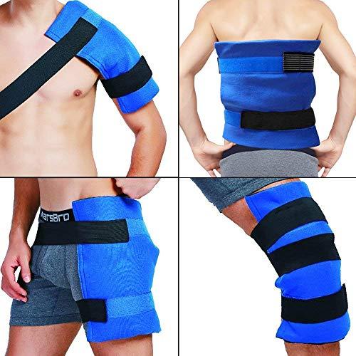 Paquete y envoltura de hielo en gel flexible grande, terapia de frío y calor para cadera, hombro, codo, espalda, rodilla - Gran alivio para esguinces, dolor muscular, contusiones, lesiones, 11'x 14'