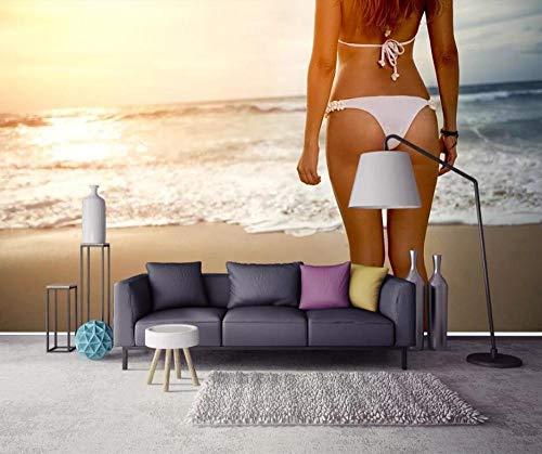 Benutzerdefinierte 3D-Wandbilder Fototapeten Sunset Beach Bronze Sexy Beauty Schöner Hintergrund Tapete @ 200 * 140Cm