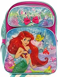 "Disney The Little Mermaid Ariel 16"" Canvas Pink & Blue Backpack"