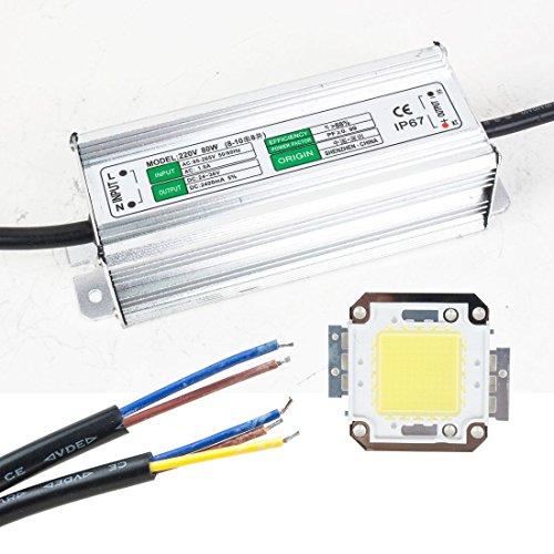 Sourcingmap® 80W LED Treiber wasserfest IP67Power Supply High Power Adapter + 80W LED Chip Lampe energiesparend für Heimwerker Tageslicht -