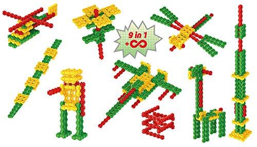Fanclastic 100623 Mix Set 9-in-1 Konstruktionsspielzeug 45-teilig, grün/rot/gelb