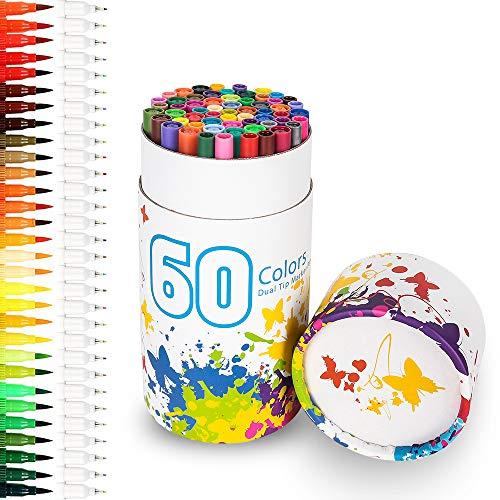 Rotuladores 60 colores, Chuangmeida lápices de acuarela, pinceles de arte, lápices de colores, rotuladores, punta doble para dibujar comics de manga, pintura, escritura, libros para colorear