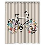 Custom tejido impermeable cortina de ducha de baño Vintage para bicicleta 60cm (W) X 182,88cm (H)