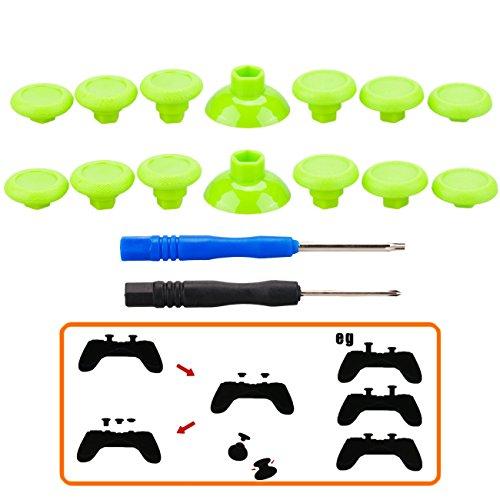 Pandaren® Professionelle Ersatz Swap Analogsticks (12 + 2 Stück) für PS4 Controller und Xbox one Controller, Grün