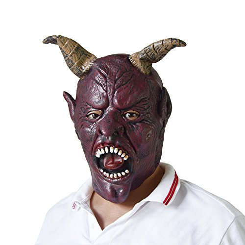 Halloween Scary Skull Skeleton Full Head Face Latex Mask,Adults Devil Demon Mask Novelty Cosplay Costume Party Horror (Full Mask Head)