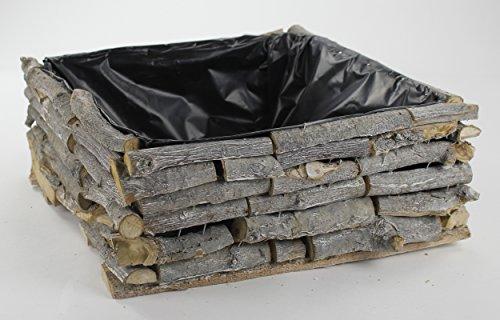 Holz Blumen-Kasten mit Kunststoff-Folie 1 Stück