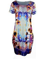 Robe manches courtes Ladies Avec Multi Color Motif Print & Strass