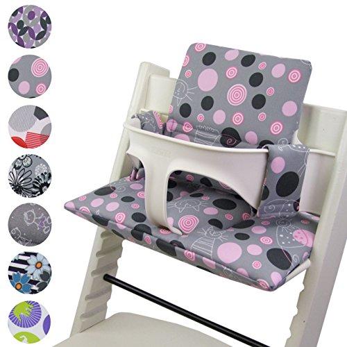 BAMBINIWELT Ersatzbezug, Kissen-Set für Hochstuhl/Kinderstuhl Stokke Tripp Trapp, Sitzverkleinerer (DESIGN) (grau rosa Katzen)
