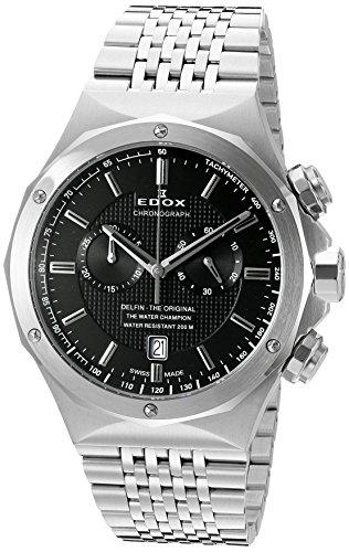Edox Men's 44mm Steel Bracelet & Case S. Sapphire Swiss Quartz Black Dial Analog Watch 10108-3-NIN