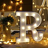 Transer Alphabet LED Letter Lights, LED Marquee Warm White Light Up Letters Sign For Wedding Birthday Home Party Bar Decoration Night Light Lamp (R)