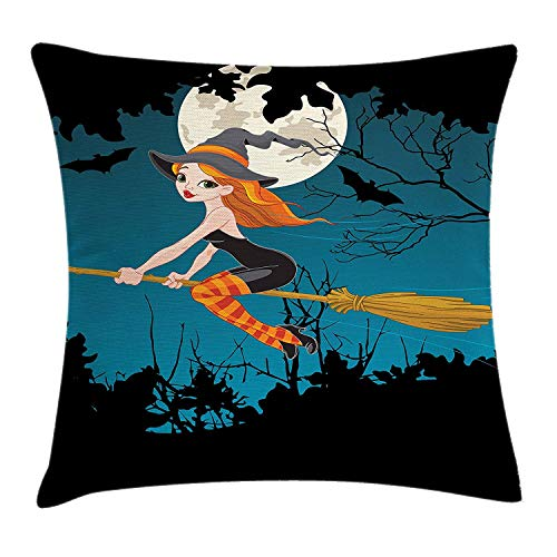 Witch Throw Pillow Cushion Cover, Cute Girl Halloween Character Flying on Broom Mysterious Spooky Woodland at Midnight, Decorative Square Accent Pillow Case, 20 X 20 Inches, Multicolor