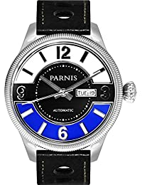 PARNIS Modelo 3248automático reloj mecánico Reloj de Miyota de calibre 821A día de la semana y fecha 5bar impermeable DIN 8310Cristal de zafiro Piel de ternero pulsera