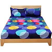 BSB HOME® 3D Printed 144 Tc Microfiber Double Bedsheet with 2 King Size Pillow Covers (Blue and Yellow Circle Printed…