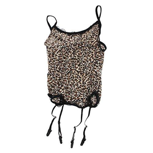 us fuer Frau Leopard Voile Catsuit Cosplay Uniformen mit G-String Sexy Kostueme Kleidung Set ()