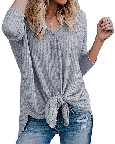 Vertvie Femme Automne T-Shirt Bouton à Manches Longues Col V Top Blouse Chemise Gilet Cardigan Casual Ourlet Irrégulier(Gris,XL)