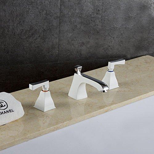 Retro Deluxe Fauceting Badezimmer Wasserhahn Weiß, Waschbecken Spinner Dual Inhaber drei Bohrungen mit heißem Wasser Deck montiert Mischbatterie Hg -4855, Chrom Weiß Stil, China