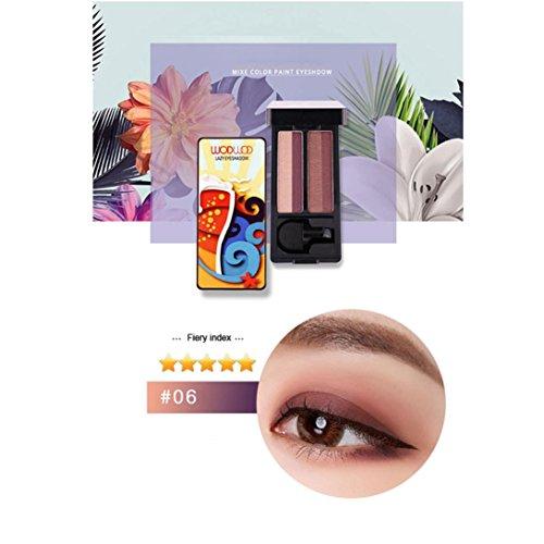 Fards à paupières,Shimmer timbre de deux couleurs fard à paupières Palette maquillage poudre flexibilité durable Set d'ombre à paupières par LHWY (F)