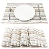 SueH Design Lot de 4 Sets de Table 45 * 30 CM Vinyle Tissé Beige