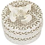 Bartons Silver Plated Jalli Rose Lid Decorative Box (2.6 Cm X 2 Cm X 2.6 Cm, Silver)